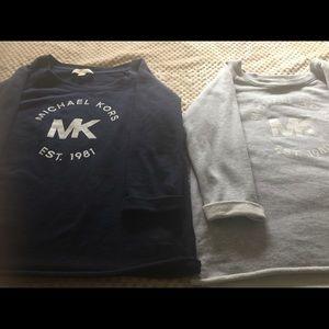 Euc MK 3/4 sleeve light weight sweat shirts.
